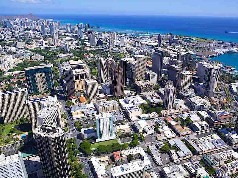 Downtown Honolulu Condos with Kakaako and Waikiki in Distance - Aerial Photo