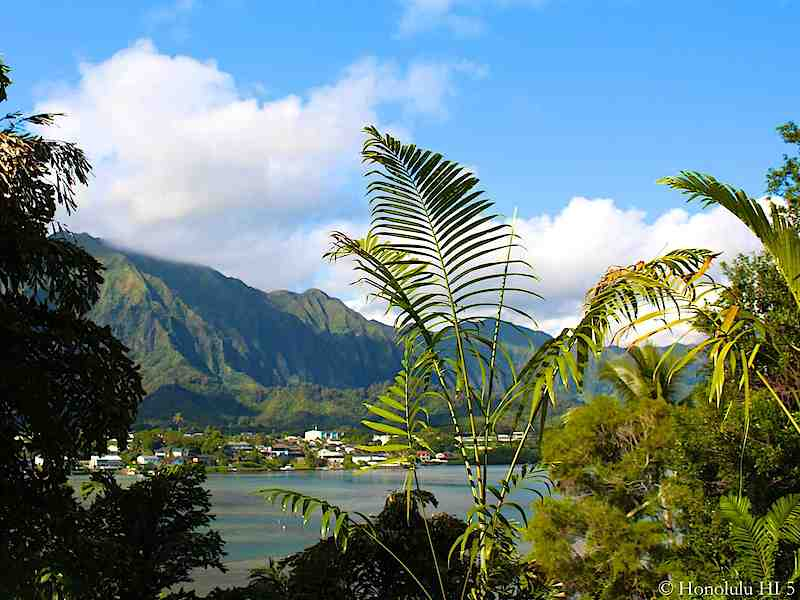 Kaneohe Bay with Homes in Distance