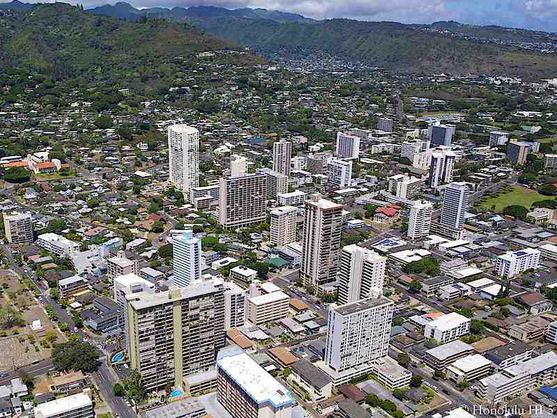 Makiki Condos with Mountain Range in Background - Aerial Photo