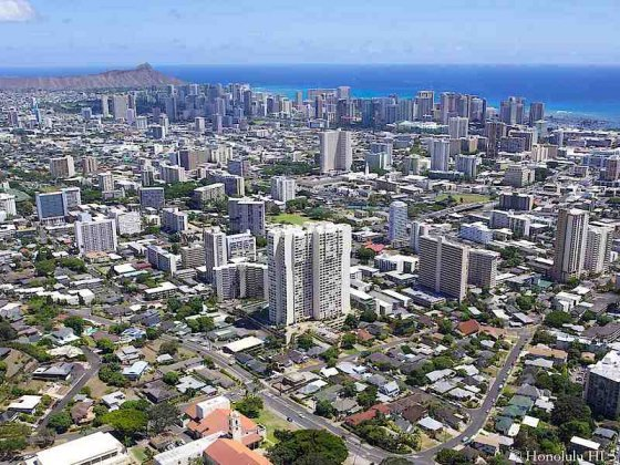 Makiki Condos Aerial Photo with Waikiki in Background