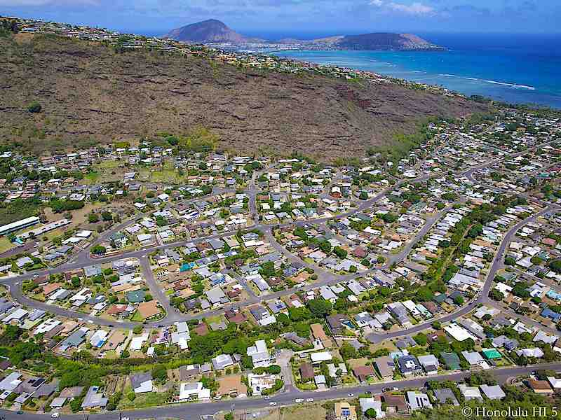 Homes in Aina Haina with Koko Head and Ocean in Distance - Aerial Photo