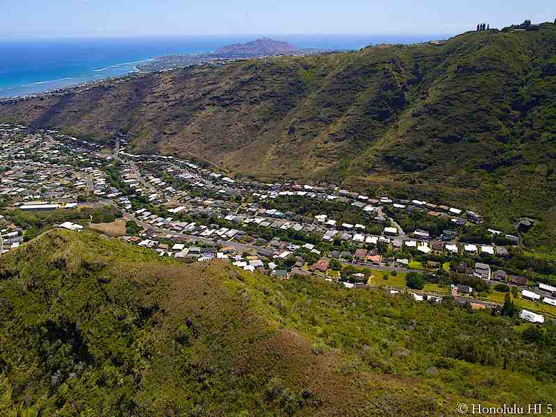 Aina Haina Homes with Ocean and Diamond Head in Background - Aerial Photo