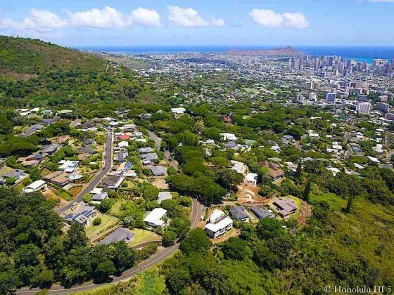 Homes in Makiki Heights with Diamond Head in Distance - Aerial Photo