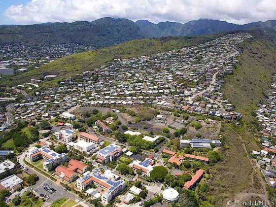 St Louis Heights in Honolulu with Chaminade University at Base - Aerial Photo