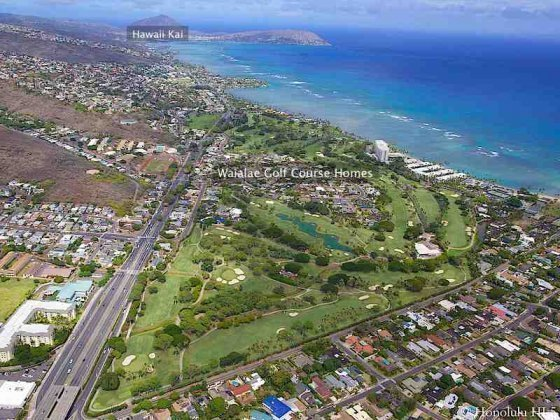 Waialae Golf Course Homes With Hawaii Kai in Distance - Aerial Photo