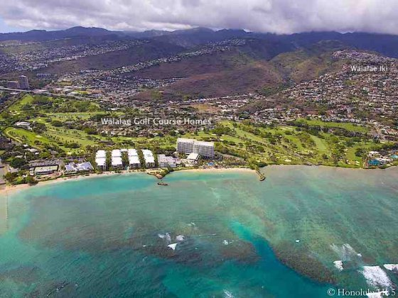 Waialae Golf Course Homes with Kahala Hotel and Ocean in Front - Aerial Photo