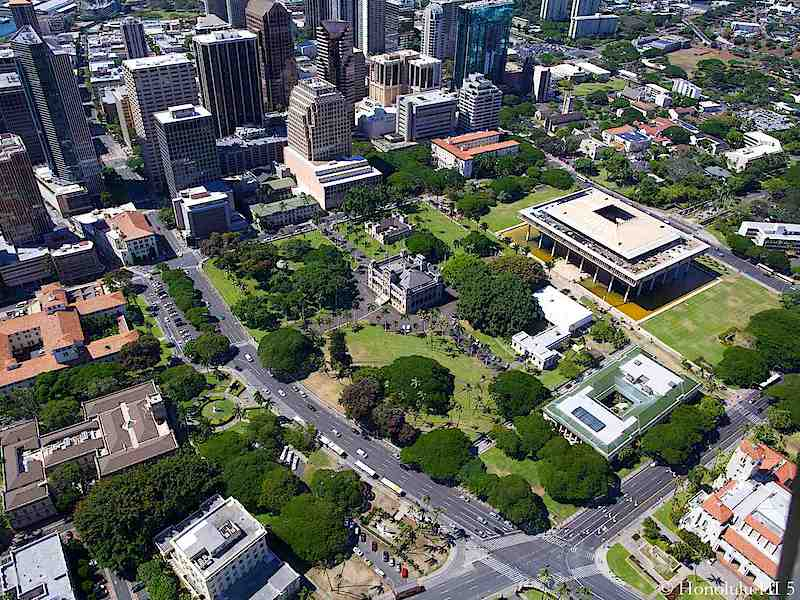 Downtown Honolulu Capitol Building Aerial Photo