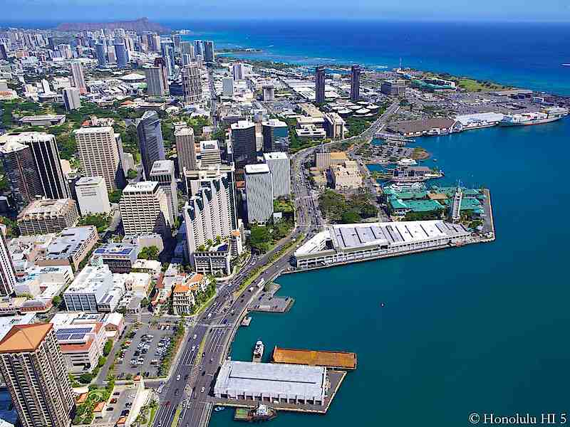Downtown Honolulu Condos Aerial Photo