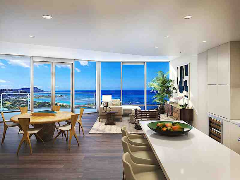 Vida Honolulu Condo Living Room with Ocean View