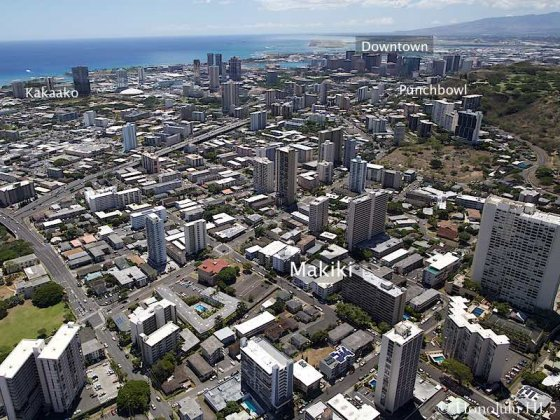 Aerial Makiki Condos with Downtown, Punchbowl and Kakaako in Distance