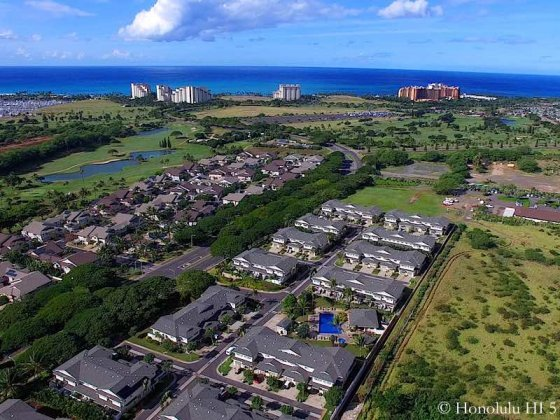 Ko Olina Hillside Villas Aerial Photo with Golf Course and Hotels in Distance