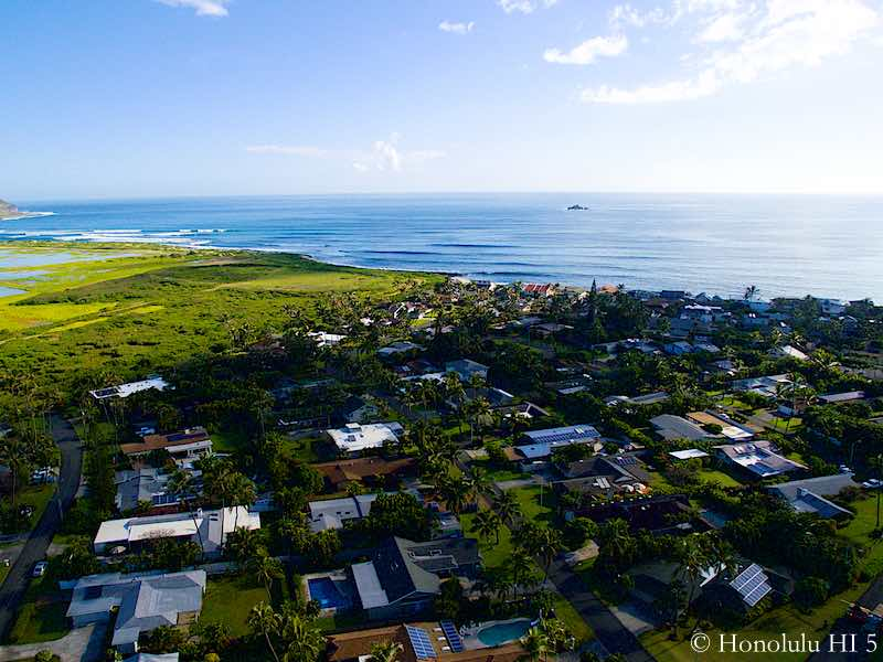Homes in Kaimalino Right by Ocean - Aerial