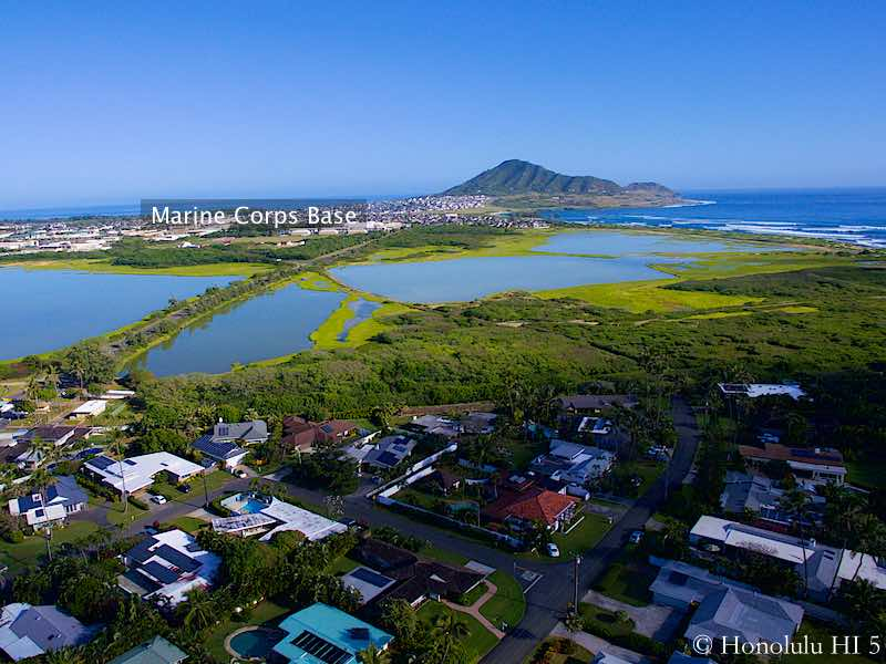 Kaimalino Homes in Kailua with Marine Corps Base in Distance