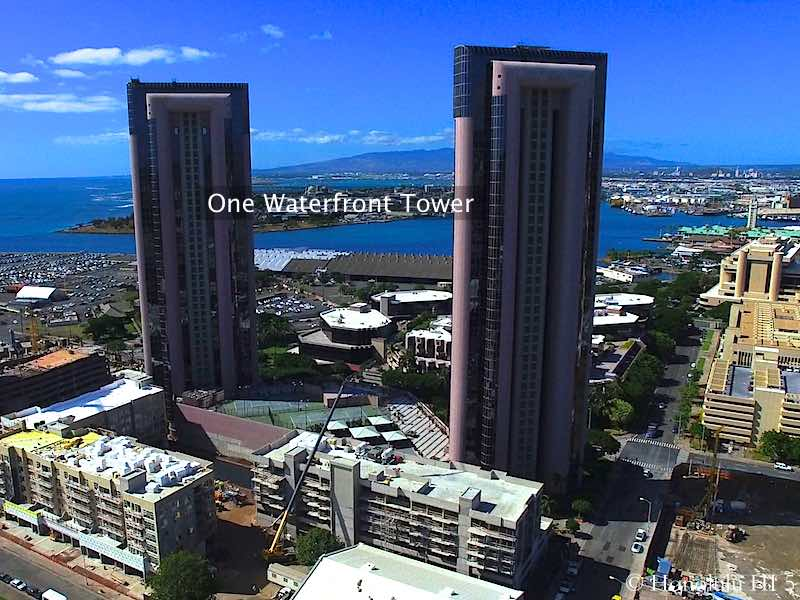 One Waterfront Tower Honolulu With Ocean and Harbor in Backdrop - Drone Photo