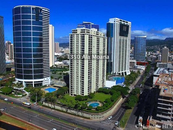 1350 Ala Moana with Nauru Tower and Hawaiki Tower on Either Side - Drone Photo