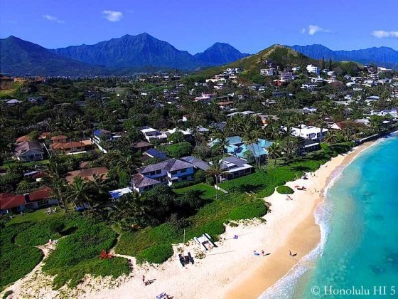 Pristine White Sandy Beach in Lanikai and Lanikai Beach Front Homes
