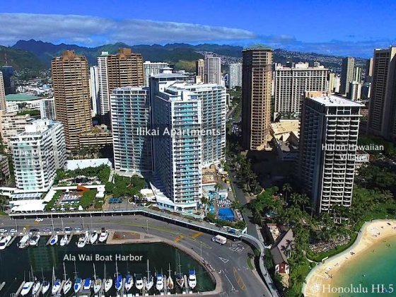 Ilikai Drone Photo with The Modern Hotel and Hilton Hawaiian Village On Either Side