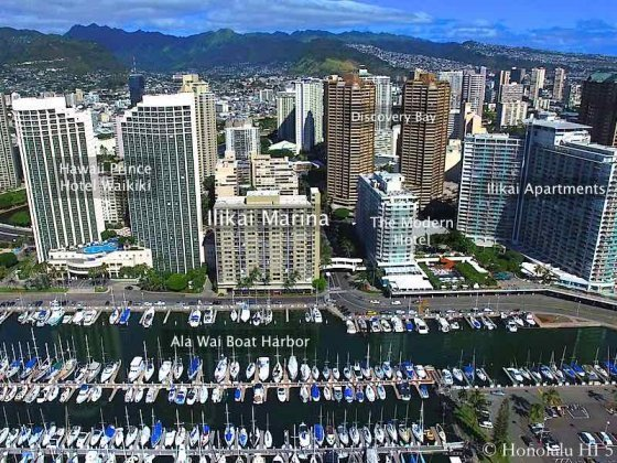 Ilikai Marina Condo Seen From Air Above Ala Wai Harbor