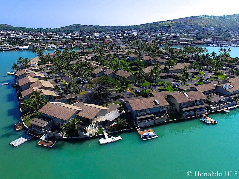 Close-up Aerial Photo of Waterfront Koko Isle Townhomes