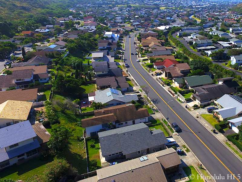 Close-up Drone Photo of Mariners Valley Homes in Hawaii Kai