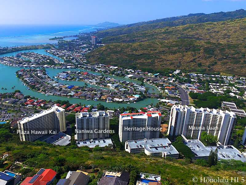 Hawaii Kai High-rise Condos Drone Photo with Waterfront Homes in Background