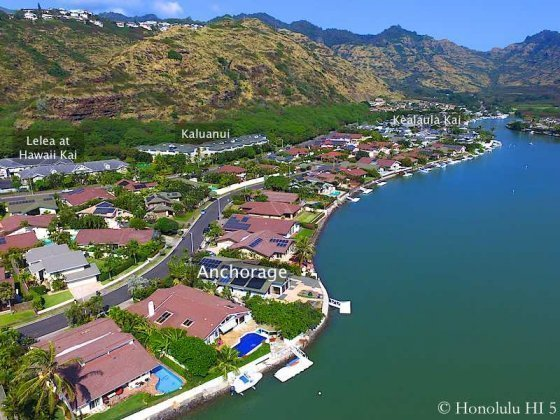 Anchorage Waterfront Homes in Hawaii Kai - Drone Photo