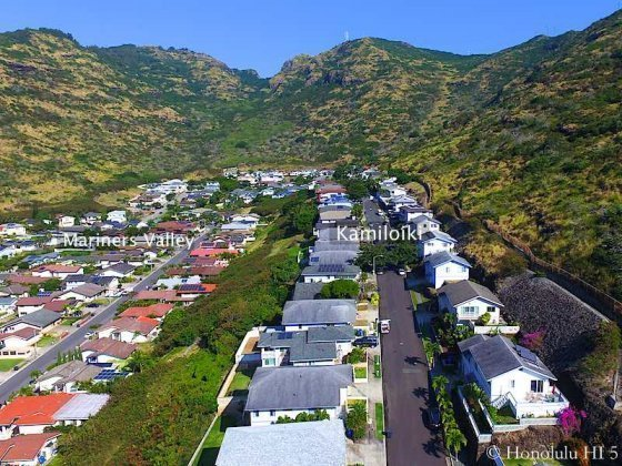 Kamiloiki Homes and Left Side Mariners Valley Homes - Drone Photo
