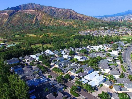 Laulima Homes in Hawaii Kai with Koko Villas in Distance - Drone Photo