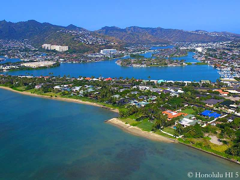 Portlock Oceanfront Homes with Hawaii Kai in Distance - Drone Photo