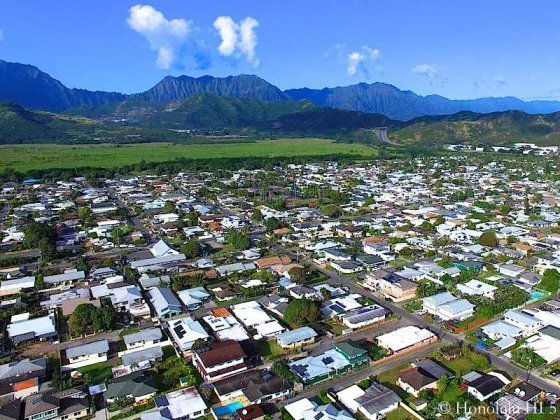 Koolaupoku Homes with Mountain in Backdrop - Aerial Photo