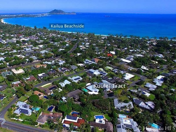 Kuulei Tract Homes in Kailua Shows Ocean Nearby - Drone Photo