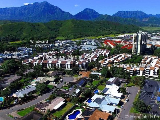 Different Condos in Kailua Highlighted - Drone Photo
