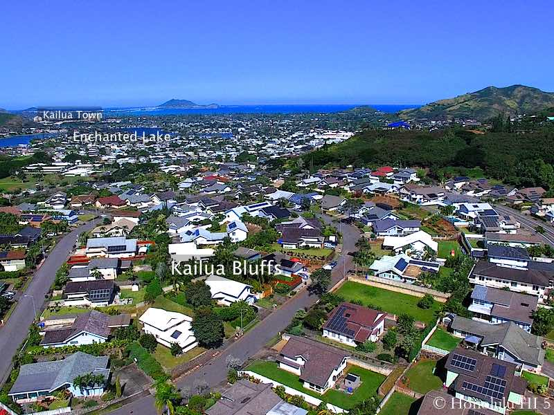 Kailua Bluffs Homes with Enchanted Lake in Distance - Drone Photo