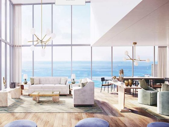 Ritz-Carlton Waikiki Diamond Head Penthouse Living Room Rendering