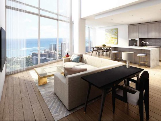 Ritz Carlton Residences Waikiki Penthouse H Living Room Rendering