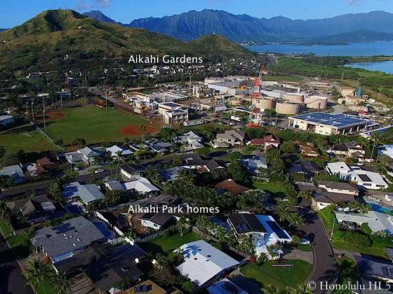 Aikahi Gardens Condos in Distance and Front Aikahi Park Homes - Aerial Photo