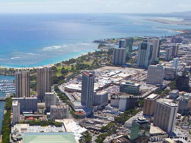 Ala Moana Tower Condo Highlighted on Aerial Photo