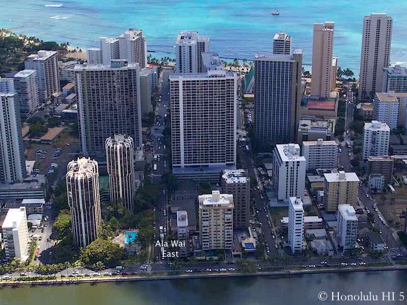 Ala Wai East Condo in Waikiki - Aerial Photo