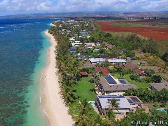 Mokuleia Beachfront Homes - Aerial Photo