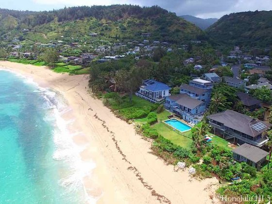 Sunset Luxury Beachfront Homes on Oahu's North Shore - Aerial Photo