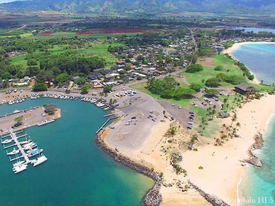 Haleiwa Homes, Harbor and Beach - Aerial Photo