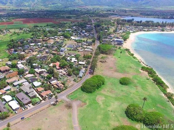 Haleiwa Homes, Beach, Park and Farm Land - Aerial Photo