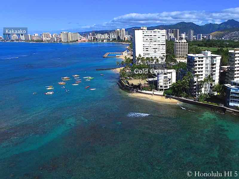 Gold Coast, Waikiki and Kakaako Condos in Honolulu Seen From the Ocean - Drone Photo