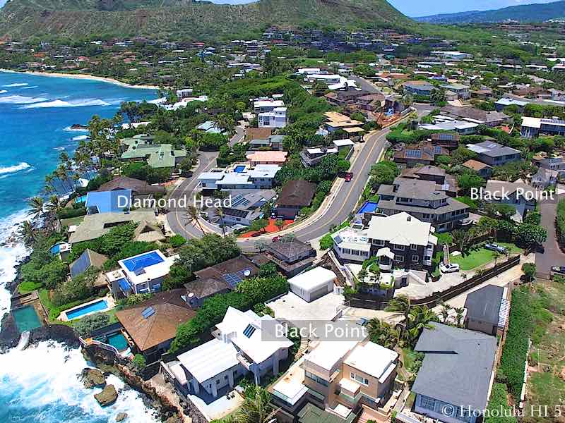 Black Point and Diamond Head Oceanfront Homes - Drone Photo