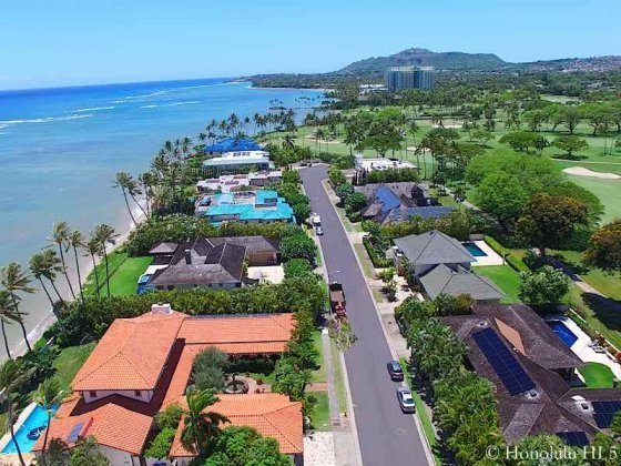 Kai Nani Honolulu Oceanfront and Golf Front Homes - Drone Photo