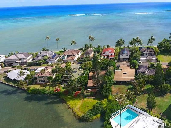 Piano Lagoon Oceanfront Homes - Drone Photo