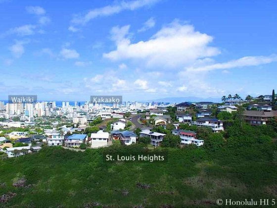 St. Louis Heights Honolulu Homes with Waikiki and Kakaako in Distance - Drone Photo