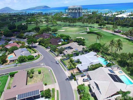 Waialae Golf Course Homes with Kahala Hotel in Distance - Drone Photo