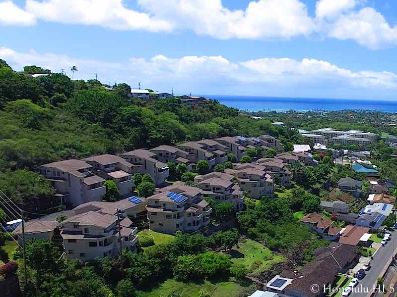 Kahala Pacifica Homes With Ocean in Backdrop - Drone Photo
