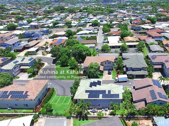 Kuhina at Kahala Homes - Gated Community in Puupanini. Drone Photo